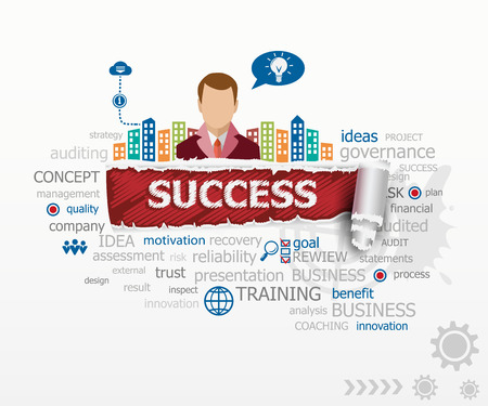 Success concept and business man. Success design illustration concepts for business, consulting, finance, management, career.