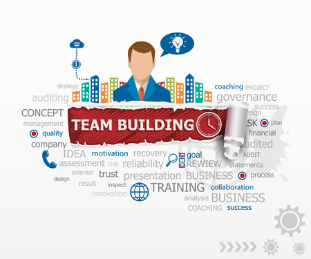 Team building graph concept word cloud and business man. Team building graph design illustration concepts for business, consulting, finance, management, career. Иллюстрация