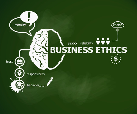 Business Ethics concept. Hand writing Business Ethics with chalk on green school board Фото со стока - 63733874