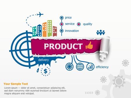 Product concept en de doorbraak papier gat met rafelige randen met een ruimte voor uw bericht.