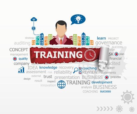 Trainingsconcept en zakenman. Opleiding ontwerp illustratie concepten voor het bedrijfsleven, consulting, financiën, management, carrière.