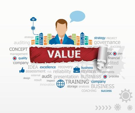 Value concept en de zakenman. Value ontwerp illustratie concepten voor het bedrijfsleven, consulting, financiën, management, carrière.
