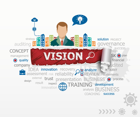 relate: Vision concept and business man. Vision design illustration concepts for business, consulting, finance, management, career.