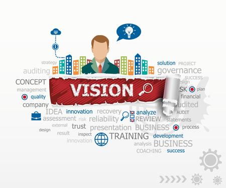 Vision concept en de zakenman. Vision ontwerp illustratie concepten voor het bedrijfsleven, consulting, financiën, management, carrière.