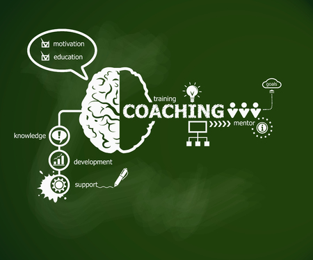 Coaching concept and brain. Hand writing Coaching with chalk on green school board Illustration
