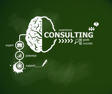 Consulting concept and brain. Hand writing Consulting with chalk on green school board Иллюстрация