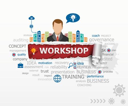 Workshop concept en de zakenman. Workshop ontwerp illustratie concepten voor het bedrijfsleven, consulting, financiën, management, carrière.