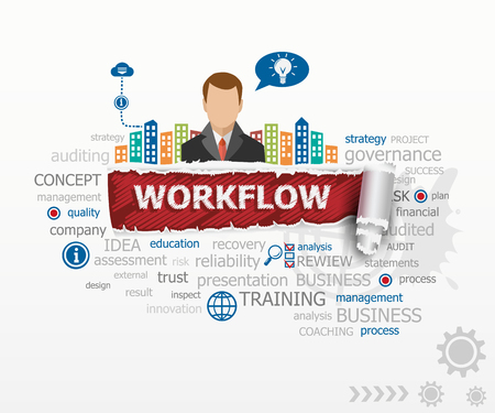 Workflow word cloud concept and business man. Workflow design illustration concepts for business, consulting, finance, management, career.