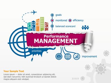 Performance management en baanbrekende document gat met rafelige randen.