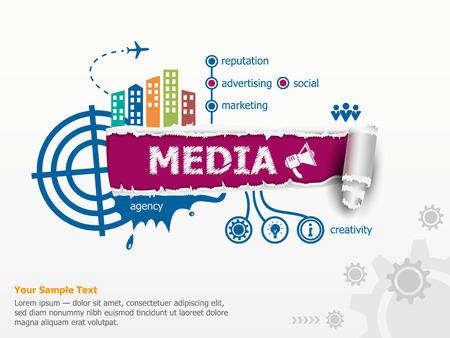 Media design concept en baanbrekende document gat met rafelige randen met een ruimte voor uw bericht.