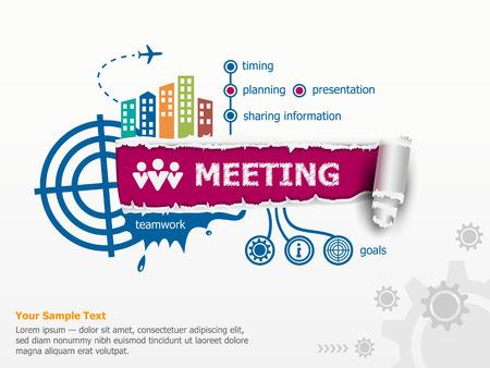 Zakelijke bijeenkomst en baanbrekende document gat met rafelige randen met een ruimte voor uw bericht. Stock Illustratie