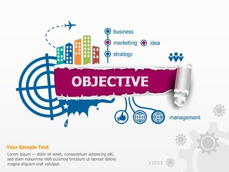 Objectief begrip en baanbrekende document gat met rafelige randen met een ruimte voor uw bericht.