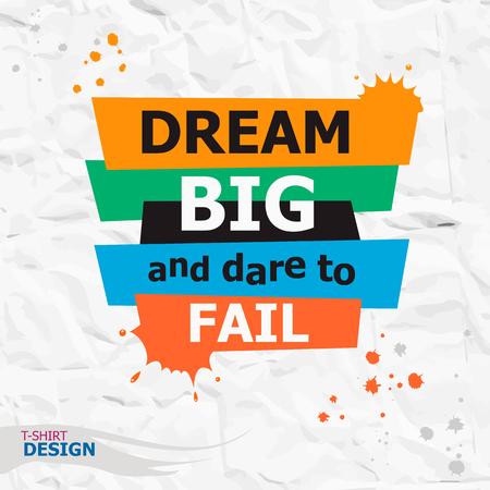 Woorden Dream big en durven te mislukken. Inspirerend motieven citaat. Typografie Banner Design Concept Stock Illustratie