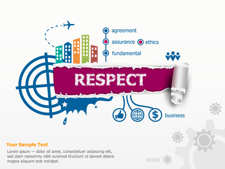 respectable: Respect concept and breakthrough paper hole with ragged edges with a space for your message. Illustration