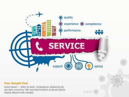 Service concept en baanbrekende document gat met rafelige randen. Stock Illustratie