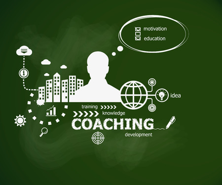 supervise: Coaching concept and man. Hand writing Coaching  with chalk on green school board. Typographic poster. Illustration