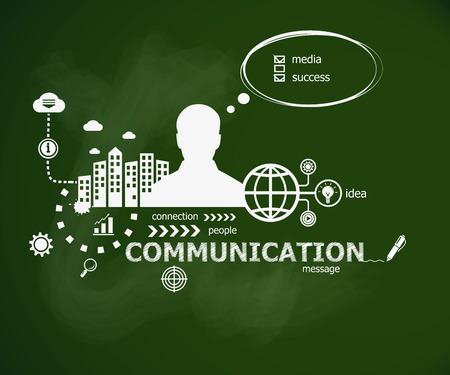 Communication concept and man. Hand writing Communication with chalk on green school board. Typographic poster.
