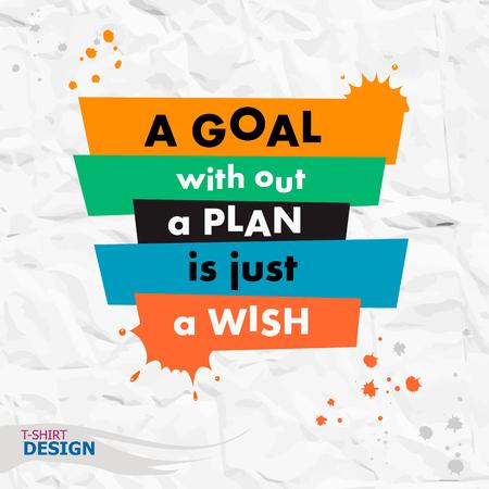 Inspirational motievencitaat. Een doel zonder een plan is enkel een wens. Typografie Ontwerp van de Banner Stock Illustratie