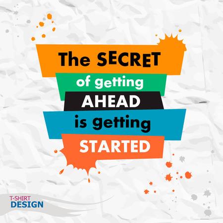 Inspirerend motieven citaat. Het geheim van om vooruit te komen is begonnen. Typografie Banner Design Concept Stock Illustratie