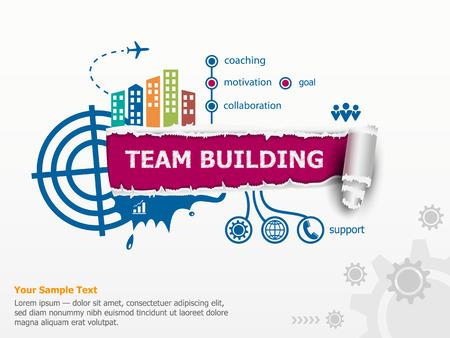 Team Building concept en de doorbraak document gat met rafelige randen. Stock Illustratie
