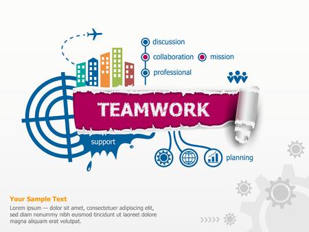 Teamwork concept en baanbrekende document gat met rafelige randen. Communicatie in de wereldwijde computernetwerken Stock Illustratie