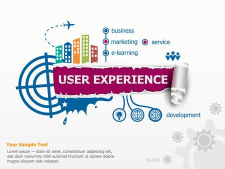 User experience concept voor de efficiëntie en baanbrekende document gat met rafelige randen met een ruimte voor uw bericht. Vector Illustratie