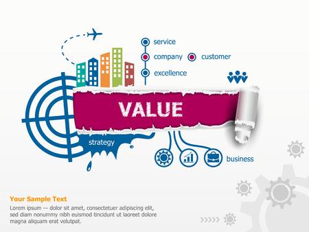 Value concept en de doorbraak papier gat met rafelige randen met een ruimte voor uw bericht. Stock Illustratie