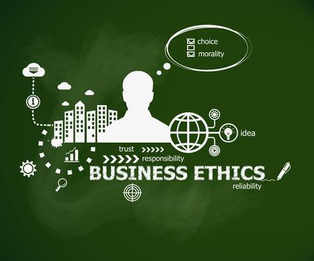 Business Ethics concept en de man. Hand schrijven Business Ethics met krijt op groene school bord. Typografische poster. Stock Illustratie