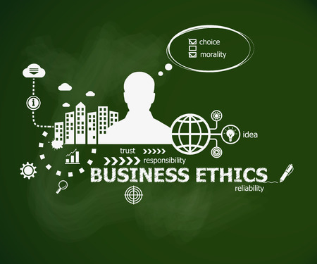 Business Ethics concept  and man. Hand writing Business Ethics with chalk on green school board. Typographic poster. Illustration
