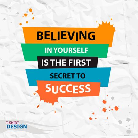 Inspirerend motieven citaat. Geloven in jezelf is het eerste geheim van het succes. Typografie Banner Design Concept