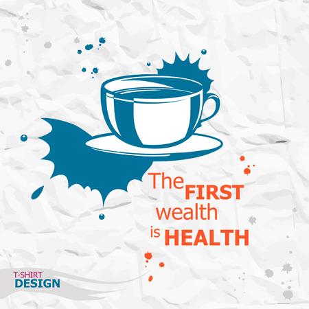 Kopje koffie en Inspirerend motievencitaat. De eerste rijkdom is de gezondheid. Eenvoudig trendy design. Typografie Design Concept