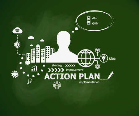 Action Plan concept and man. Hand writing Action Plan with chalk on green school board. Typographic poster.