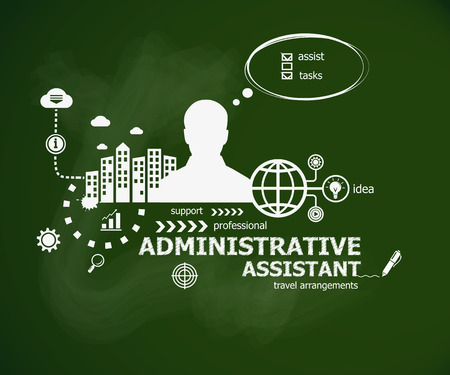 Administrative assistant business concept and man. Hand writing Administrative assistant with chalk on green school board. Typographic poster. Иллюстрация