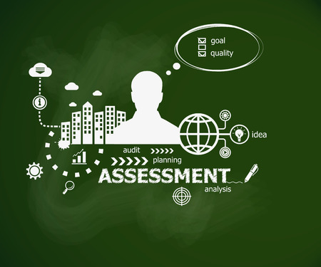 Assessment concept and man. Hand writing Assessment  with chalk on green school board. Typographic poster. Illustration