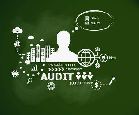 Audit concept and man. Hand writing Audit with chalk on green school board. Typographic poster. Illustration