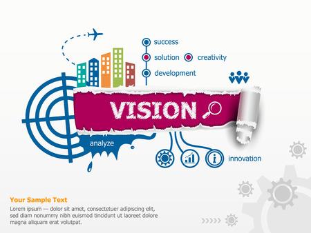 Vision concept en de doorbraak papier gat met rafelige randen met een ruimte voor uw bericht. Stock Illustratie