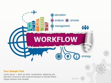 Workflow design concept and breakthrough paper hole with ragged edges with a space for your message. Фото со стока - 64847181