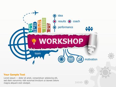 Workshop concept en de doorbraak papier gat met rafelige randen met een ruimte voor uw bericht. Stock Illustratie