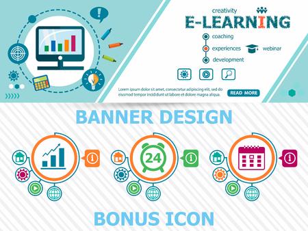Online e-learning design concepten en abstracte dekking header achtergrond voor website-ontwerp. Horizontale reclame-industrie banner layout template