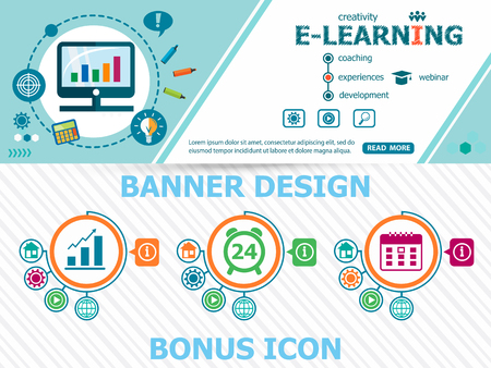 Online e-learning design concepts and abstract cover header background for website design. Horizontal advertising business banner layout template