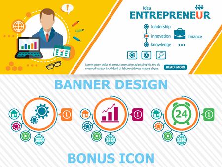 Entrepreneur design concepts and abstract cover header background for website design. Horizontal advertising business banner layout template