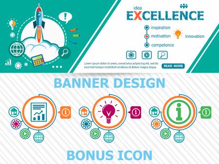 Excellence design concepten en abstracte dekking header achtergrond voor website-ontwerp. Horizontale reclame-industrie banner layout template