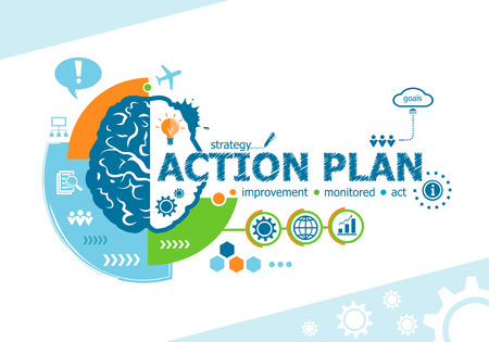 Action plan related words and brain concept. Infographic business. Project for web banner and creative process.
