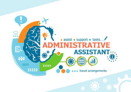 auxiliar administrativo y palabras relacionadas con el concepto de cerebro. negocio infografía. Proyecto para la bandera de la tela y el proceso creativo.