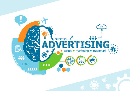 Advertising related words and brain concept. Infographic business. Project for web banner and creative process.