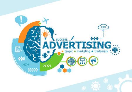 Reclame verwante woorden en hersenen concept. Infografisch bedrijf. Project voor web banner en creatief proces. Stock Illustratie