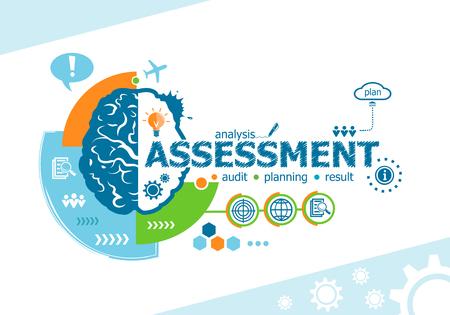 Assesseringsgerelateerde woorden en hersenconcept. Infografisch bedrijf. Project voor web banner en creatief proces. Stock Illustratie
