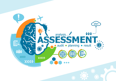 Assessment related words and brain concept. Infographic business. Project for web banner and creative process.