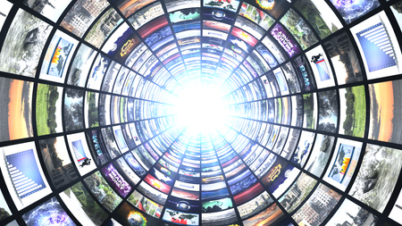 Monitors Tunnel, Computer Graphics Technology Abstract Background