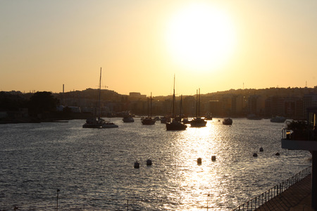 seafronts: Sliema, Harbor, Sunset, Mediterranean Sea, Republic of Malta Stock Photo
